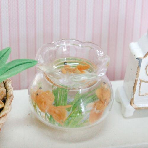 1:12 Dollhouse Miniature Fish Bowl Gold Fish Tank Doll House Pets