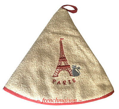 Torchons /& Bouchons French Cat EIFFEL TOWER Dubout Hanging Towel Loop $23.50