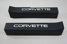 1988-1989 Corvette Door Sill Protectors (Black w/ White Logo) C4
