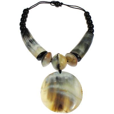 Tribal style natural buffalo horn oversized big pendant bead choker necklace