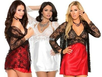 d6ceb5248ee Sexy Robe Chemise Gown Set Bridal White Red Black Lace Satin Women Lingerie  Set