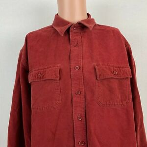 Ll Bean Solid Chamois Flannel Shirt Button Up Red 0mt03 Mens Size Xl Ebay
