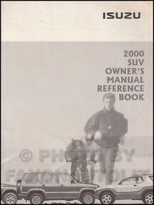 2000 isuzu owners manual vehicross rodeo hombre owner reference rh ebay com 1998 isuzu hombre service manual 1998 Isuzu Hombre Engine