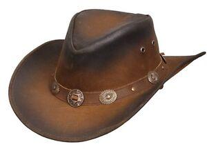Nuevo-Sombrero-estilo-vaquero-occidental-de-cuero-Aussie-Conchos