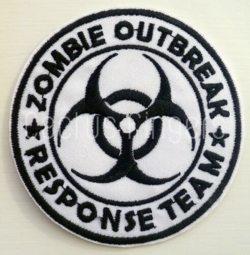 ZOMBIE OUTBREAK Iron Sew On Patch Badge Transfer Fancy Dress Costume Halloween