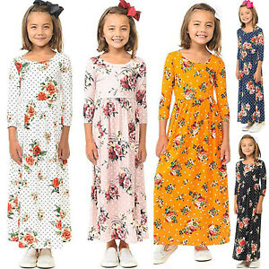 Summer-Girls-Boho-Flower-Kids-Long-Maxi-Dresses-Kids-Casual-Beach-Evening-Party