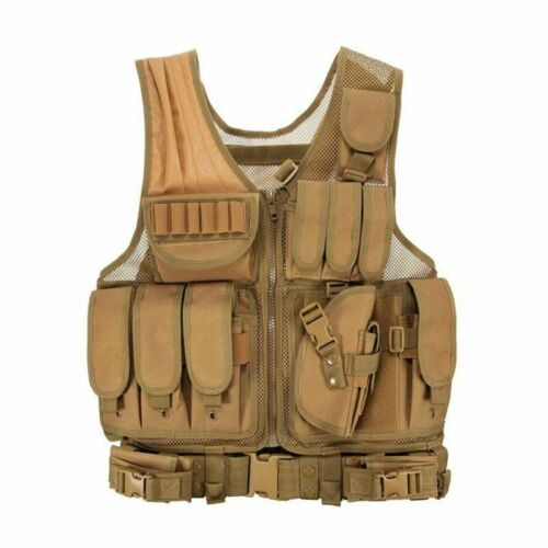 Details about  /Tactical Vest Adjustable Oxford Nylon Hunting Outdoor Paintball Combat Equipment