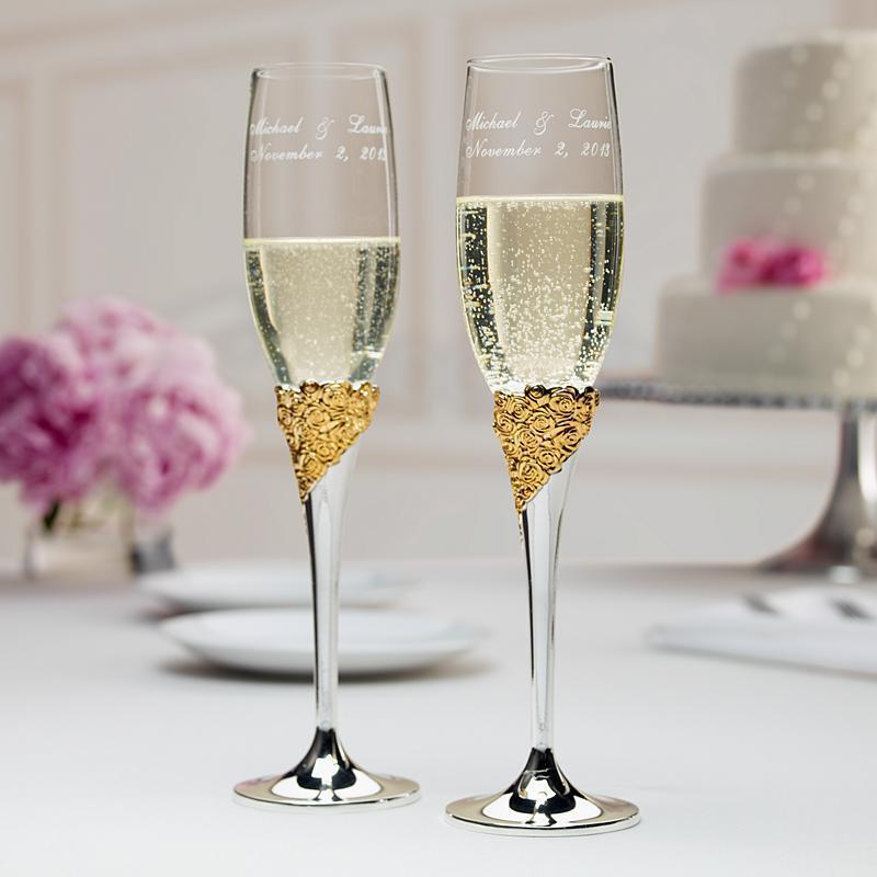 Nueva con caja de regalo Lenox Marchesa cristal plateado oro 2 PC champán flauta para tostar