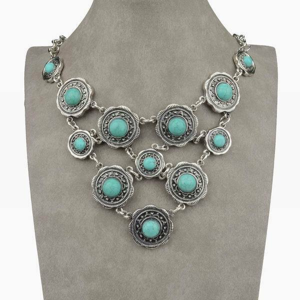 Nature Vintage Turquoise Bead Pendant Silver Plated Chain Bib Statement Necklace