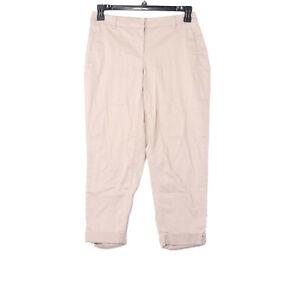 White House Black Market Women's WHBM Contour Crop Leg Chino Khaki Pants Size 4