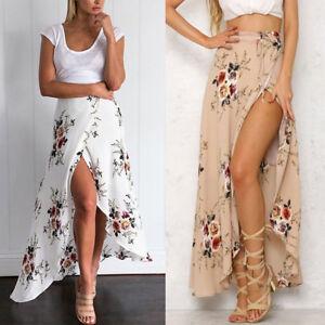 Boho-Womens-Chiffon-High-Waist-Summer-Beach-Long-Maxi-Dress-Casual-Waist-Skirt