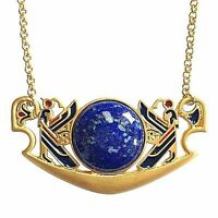 Large Egyptian Pectoral Necklace Gold Plated With Large Lapis Cabochon 18 Chain