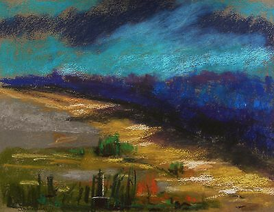 ORIGINAL Landscape Pastel Painting JMW art John Williams Impressionism Moon