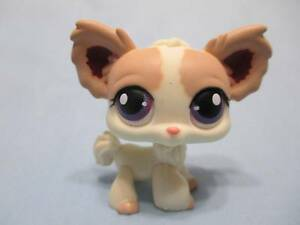 Littlest Pet Shop #438 Tan Cream Long Haired Chihuahua Puppy Dog 100% Authentic