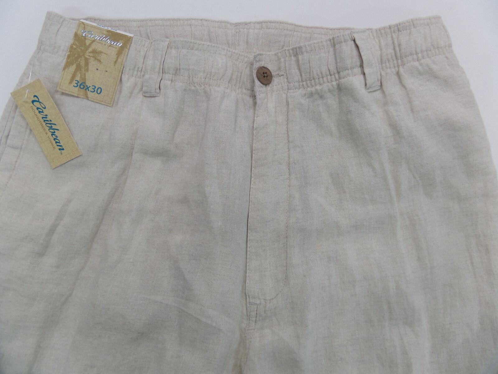 Men's CARIBBEAN Natural Light Khaki LINEN Drawstring Pants 36 x 30 NWT
