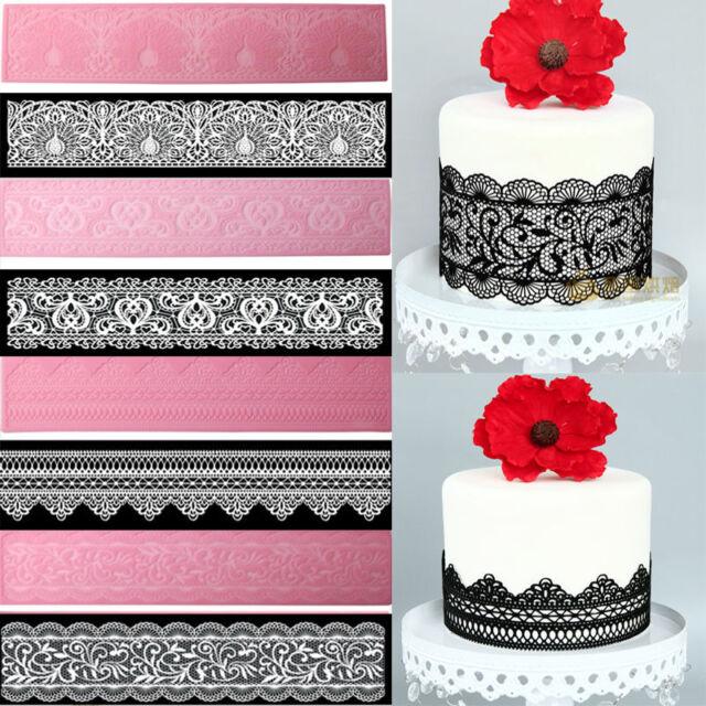 Lace Cake Decoration Border Mat Silicone Icing Sugarcraft Mould Wedding Tool