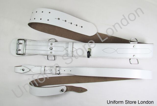 Sam Browne Belt + Shoulder Strap White Leather Chrome Uniform Accessories R247