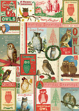 Cavallini Christmas Owls Wrapping Paper