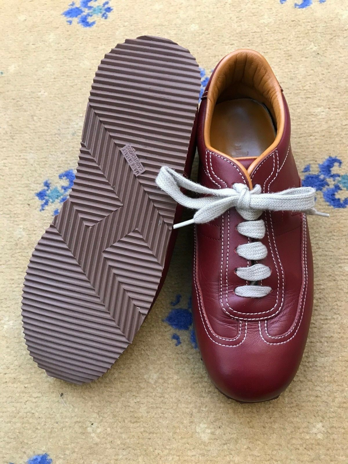 Zapatos De Cuero Hermes Mujer Rojo Zapatillas Sneakers nos 7.5 Damas