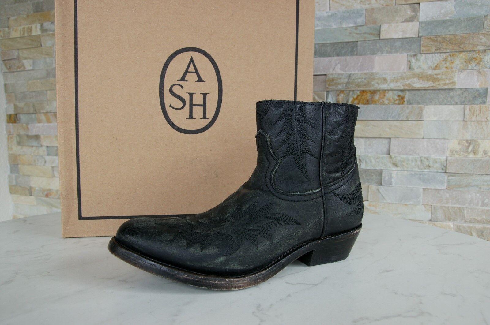 ASH 37 Stiefel Schuhe Stiefeletten Vintage Country Kurty schwarz neu ehem