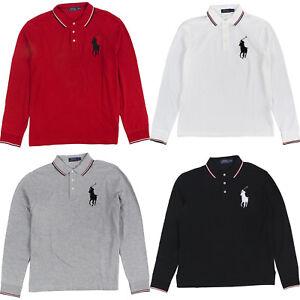 5a9a7debe7b4 Men s POLO Ralph Lauren Long Sleeve Mesh Polo Shirt BIG PONY Classic ...
