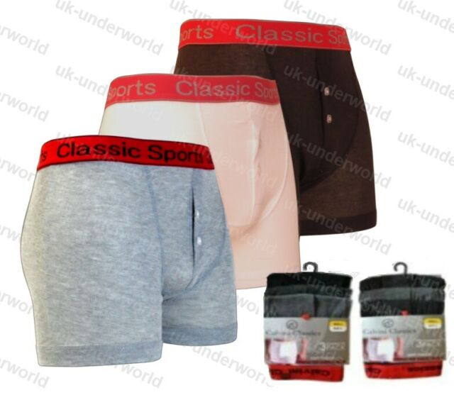 12 PAIRS Mens Classic Sports Boxers Cotton with stretch button fly s to 5xl