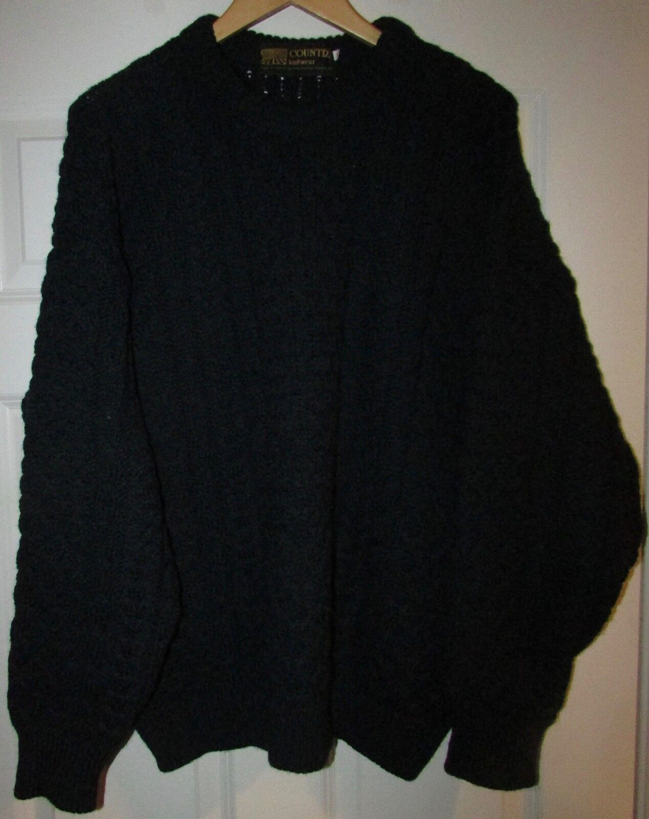 Irish Country Knitwear Chunky Cable Wool Sweater Grün/Blau Größe 46