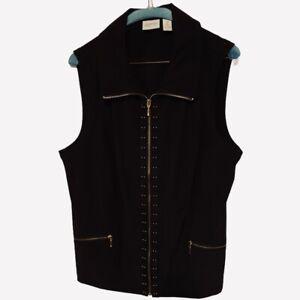 Chicos-Zenergy-Womens-Vest-Black-Zip-Up-Pockets-Stretch-Large-NWOT