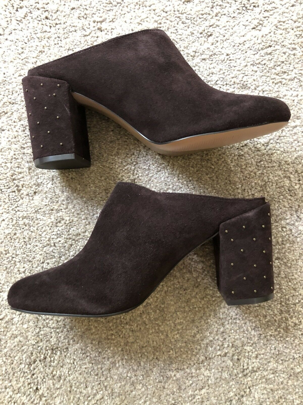 marron Suede Studdrd-heeled Clogs Mules Slides Taille 7.5US