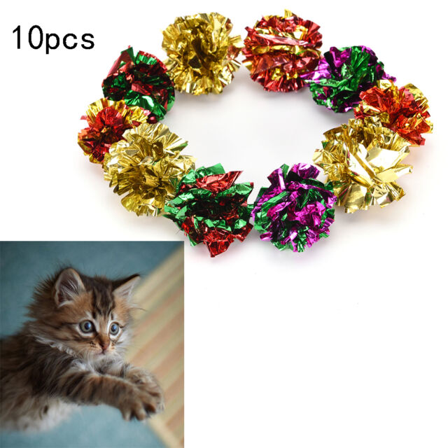 10pcs mylar crinkle balls interactive sound ball cat toys funny LC