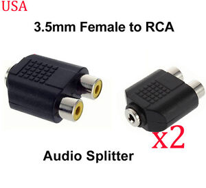 "LOT of 2 RCA Dual Male to 3.5mm 1//8/"" Stereo Female Y Splitter Audio Adapter"
