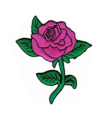 Ak05 rose fleur rose pink flower écusson Bügelbild aufbügler patch Application