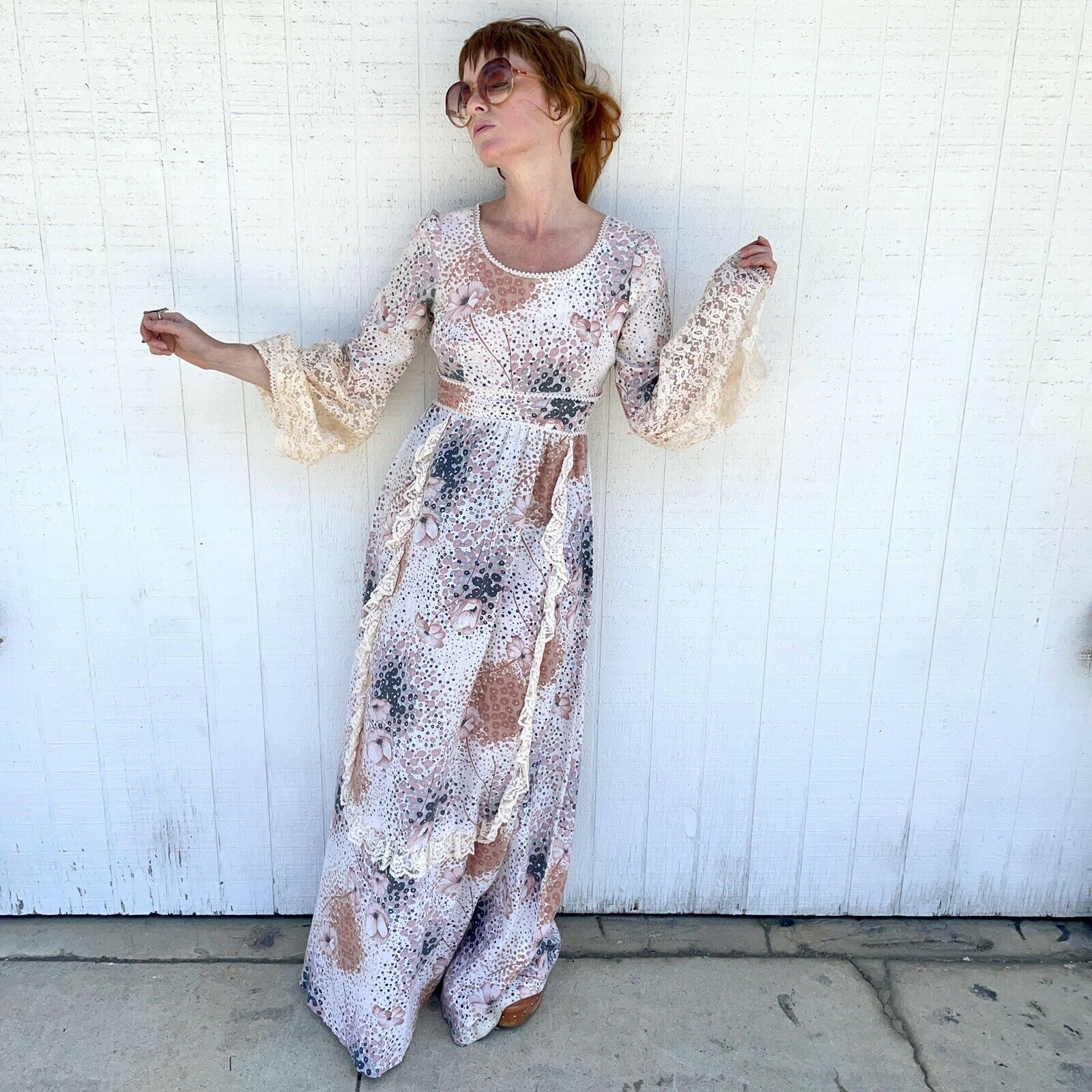 Vintage 70s Floral Maxi Dress Lace Sleeves Fairyc… - image 4