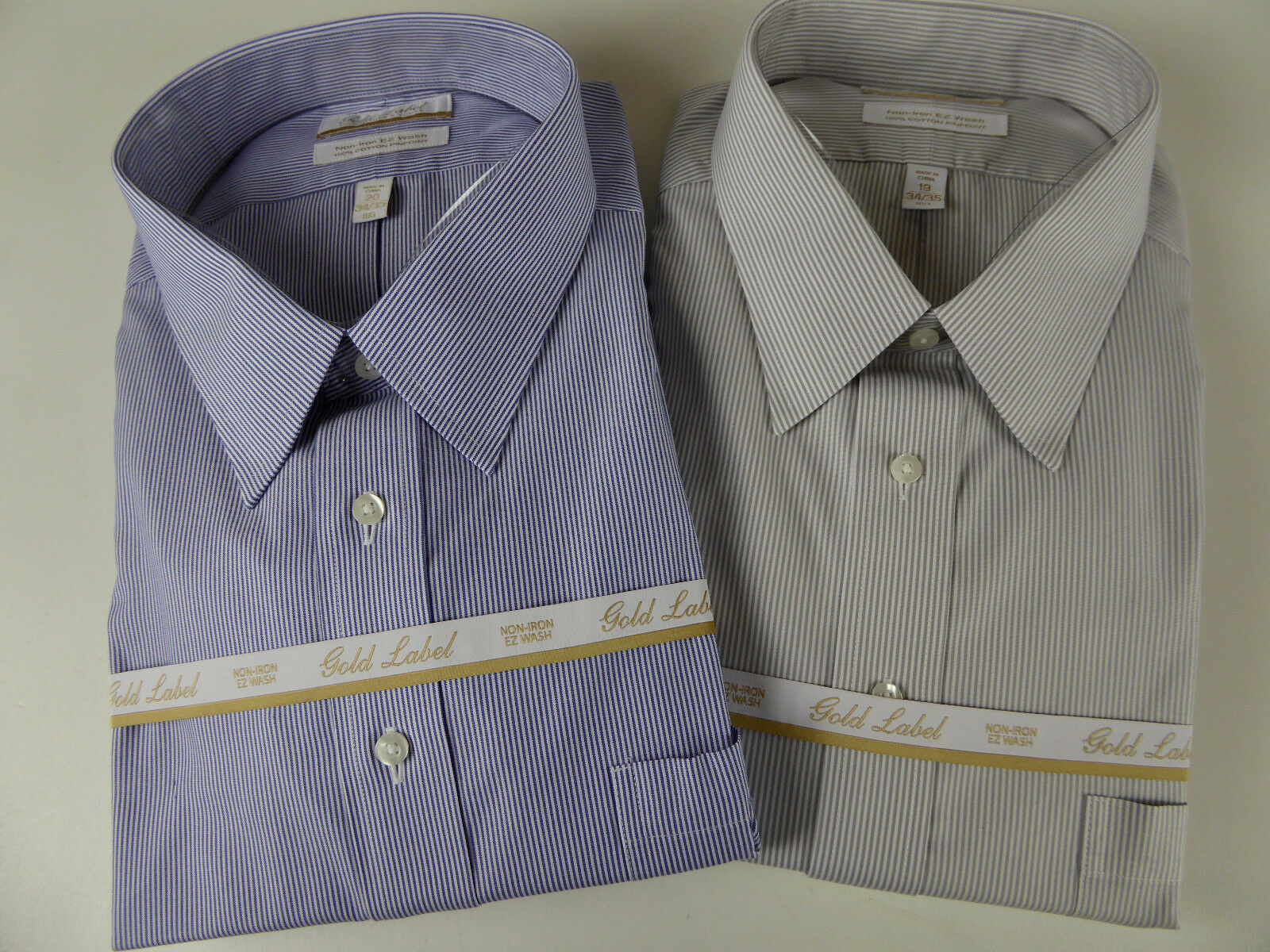 Roundtree & Yorke gold Label Non Iron EZ Wash Cotton Striped Dress Shirt NWT