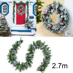 9ft 270cm Imperial Pine Christmas Xmas Garland Hanging Pine Cones Snowy Decor