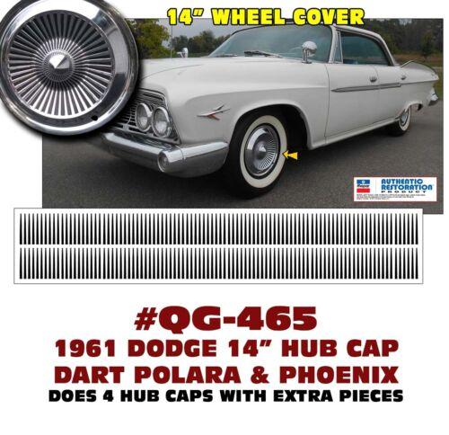 """PHOENIX and POLARA 14/"""" HUB CAP DECALS QG-465 1961 DODGE  DART"""