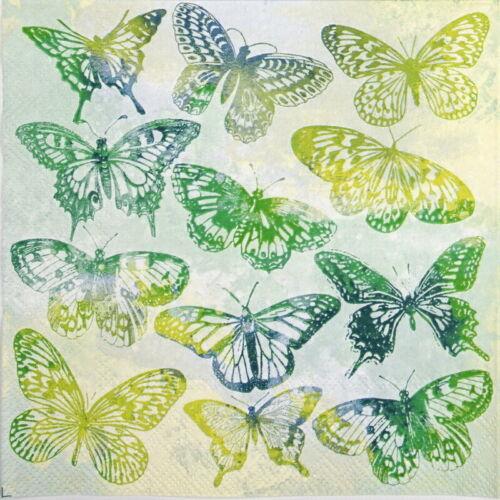 Papel 4x Servilletas Para Decoupage Craft-Aquarell Mariposas Verde