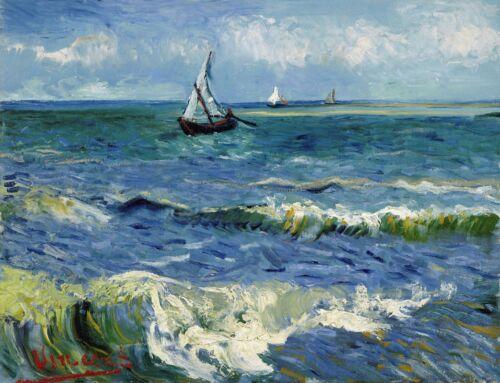 Decoration Poster..Seascape by Van Gogh art painting.Home Room dorm decor.11361