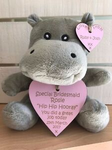 Personalised Wedding Gift Favour Thank You Hippo Bridesmaid Page Boy