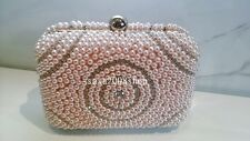Pink~Handmade~New Bridal Pearl Evening Purse Clutch Bag☆Free shipping☆