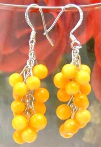 4 Mm Véritable Jaune Corail Dangle raisin stering Argent 925 Boucles D/'oreilles Pour Femmes 147