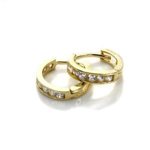 9ct-Gold-amp-Crystal-CZ-Huggy-Hoop-Cuff-Huggie-Hoop-Earrings