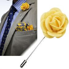 Feltro bavero Fiore Boutonniere Stick Spilla Men's Shirt Suit Tie Crema