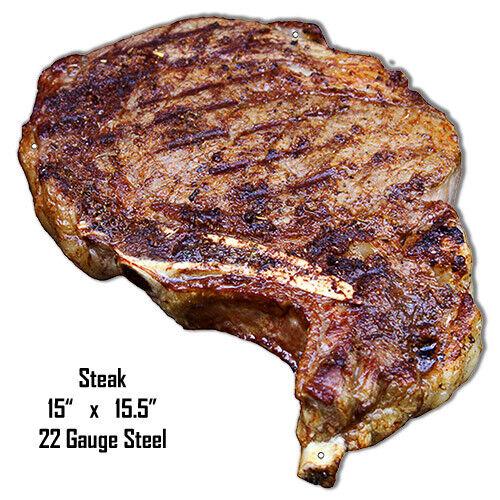 Steak Laser Cut Out Wall Art Metal Sign 15x15.5