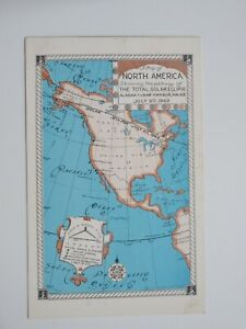 Map-of-North-America-Showing-Path-of-Solar-Eclipse-1963-Vintage-Chrome-Postcard