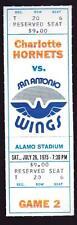July 26 1975 San Antonio Wings vs Charlotte Hornets Full Ticket WFL 1st Game