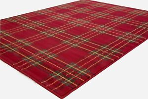 SMALL-EXTRA-LARGE-MID-RED-TARTAN-PATTERNED-RUG-CLEARANCE-LTD-STOCK