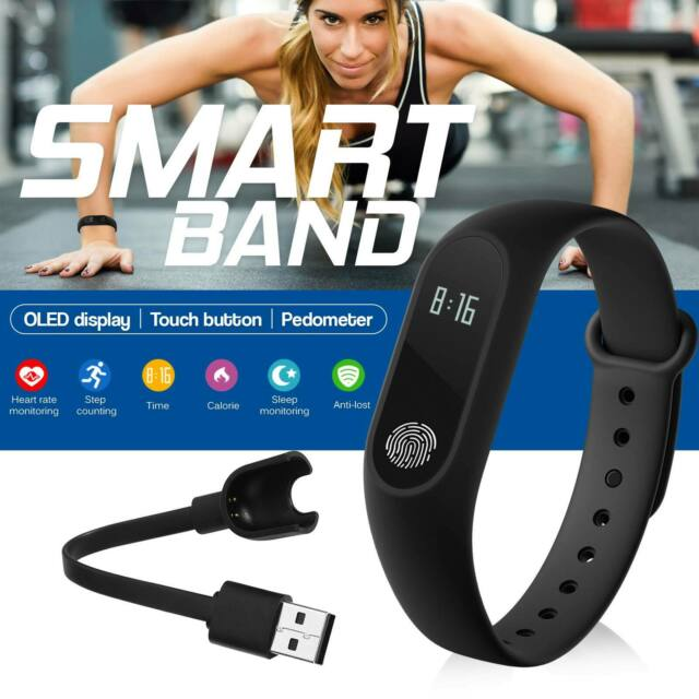 Bluetooth M2 Heart Rate Monitor Fitness Tracker Smart Band Bracelet Watch Sleep