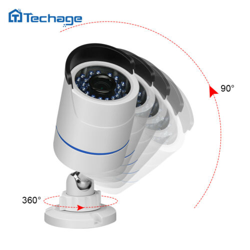 Techage 4CH 1080P 48V POE NVR 2PCS 2.0MP CCTV IP Camera Security System+2TB HDD