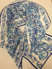 "Silk PARIS France 100% Silk Scarf 10"" x 54"" Anne McAlpin Blue & White Flowers"